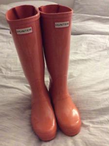 Hunter Boots - Size 7 - tall gloss orange - brand new - $60 OBO
