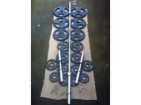 **LIKE NEW** 125kg OLYMPIC TRI GRIP WEIGHTS WITH 7ft OLYMPIC BARBELL AND DUMBBELLS