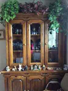 Solid Wood dining table and China cabinet