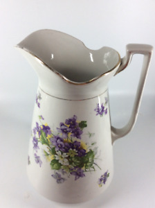 Vintage Large Wash Pitcher with Beautiful Floral Pattern