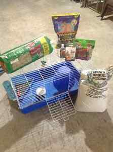 Small pet cage and supplies