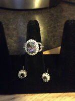 Reduced-Mystic topaz ring with matching earrings
