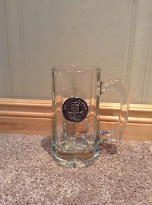 Wilfrid Laurier University glass beer mug with pewter emblem