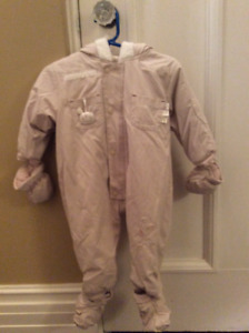 Baby cream unisex snowsuit - detachable boots/mittens, 12 months