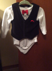 Onesie with bow tie and vest