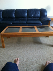 Leather sofa and Three Coffee Tables