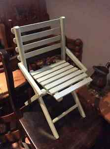 Vintage painted child's wooden slat chair