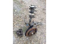 BMW e46 passenger side lower wishbone, brake calipers, lower anti roll bar and shock & spring