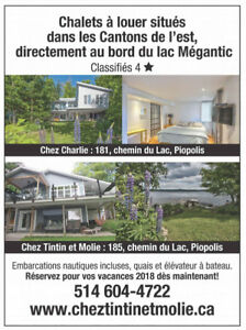 Waterfront 4 stars cottages Lac Mégantic