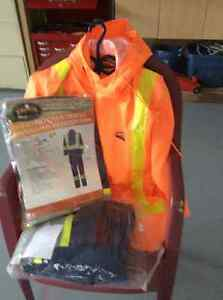 Heavy duty oil skins and 2 pairs of coveralls