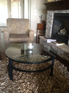 Contemporary glass topped coffee & side table