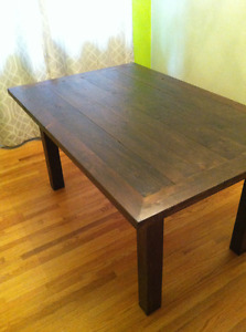 Rustic all wood dining table and benches