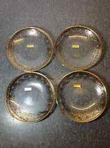 Set of 4 - hand painted 24K gold Neiman Marcus plates