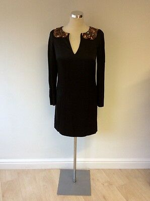 MONSOON BLACK WITH BRONZE JEWEL TRIM LONG SLEEVE OCCASION DRESS SIZE 8