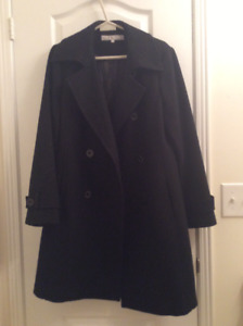 Dress Coat, hardly worn.  Navy blue with satin lining.  Size 10