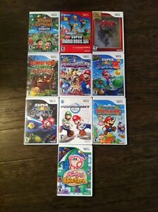 Wii games - mario, zelda, donkey kong and Kirby