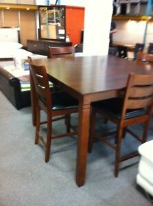 New bar height table & 4 matching chairs with leather seats