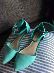 Mint and teal ballet flats