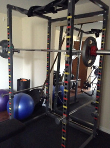 Power Cage/Squat Rack with 300lb Olympic Weight Set Incl Bar