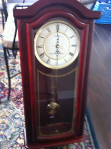 Seiko Wall Pendulum Chime Clock with Solid wood case