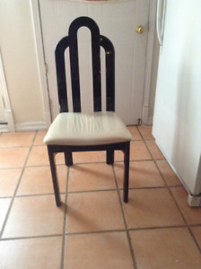 6 white and black kitchen  chairs