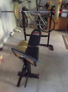 Weight bench, bar, and weights!