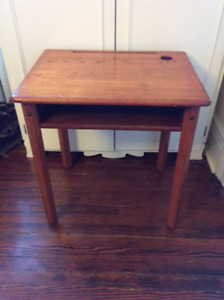 ANTIQUE OAK SCHOOL DESK TABLE COULD BE USED AS SIDE TABLE