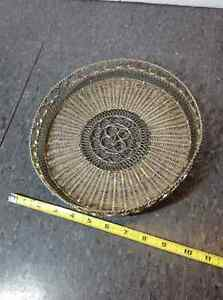 Filigree metal tray - 9 inch diameter