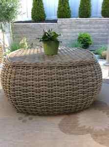 Wicker outdoor patio table
