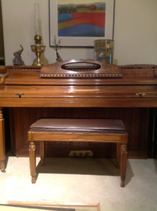 Kimball Piano, excellent condition, medium oak finish w/bench