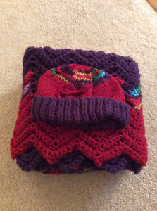 Handmade baby blankets with matching hat
