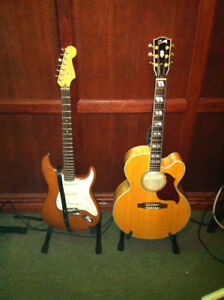 American Deluxe Stratocaster and Gibson acoustic electric J-185