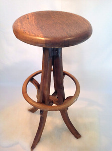 20th century wooden industrial draftsman stool