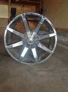 Chrome Rims with One Tire Regina Regina Area image 2