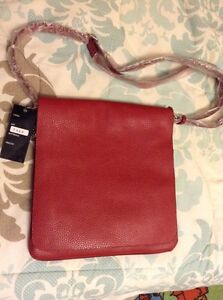 *REDUCED* New W/Tags Italian Red Leather Satchel Cambridge Kitchener Area image 1