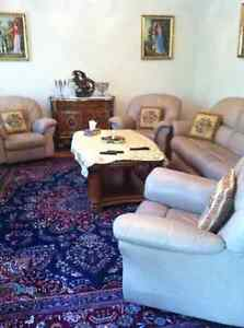 Two identical bedroom sets . Sofa set . Dining table set.