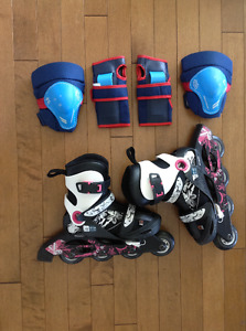 OXELO Children Adjustable Inline Speed Skating Shoes, Play Pads