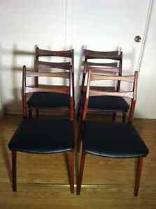 4 chaises scandinaves retro vintage
