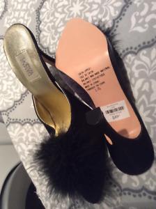 High heel feather sandals