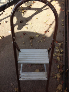 Folding 2 steps metal ladder - good solid condition