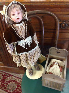 REDUCEDCoca-Cola - Sarah Franklin Heirloom Doll  & Cradle - 1994