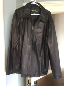 Men's XL black leather jacket - Eddie Bauer