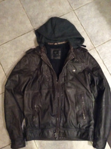 Men's lined leather look jacket