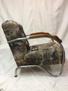 Fauteuil, chaise en tissus, chrome et bois, rétro, antique