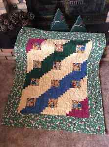Log cabin Block Quilt, flannel,  professionally machine quilted Edmonton Edmonton Area image 1