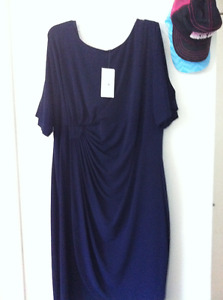 navy blue faux wrap dress from Laura new with tags