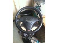 Genuine Audi three spoke leather steering wheel