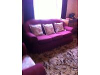3 seater sofa bed + 2 arm chairs + stool