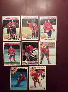 8 cartes de hockey vintage 1975à78 légendes des Canadiens ex.con
