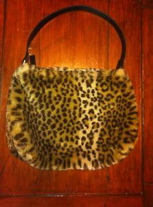 Fur Cheetah Bag Cat Print Purse Fashion Carry Winter Accessory M